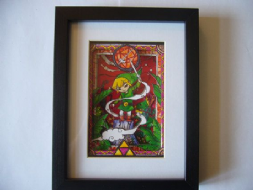 Legend of Zelda Wind Waker Stained Glass 3D Diorama Shadow Box